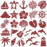 Summer icons. stamp set. Set of summer stamp icons. vector illustration Royalty Free Stock Photos