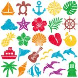 Summer icons. stamp set. Stock Image