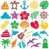 Summer icons. stamp set. vector illustration