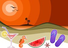 Summer Icons. The symbols that make us think of a seaside summer Royalty Free Stock Photography