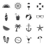Summer icons. Travel and vacation icons. Black and white Stock Images