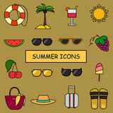 Summer icons. Vector illustration of summer icons Royalty Free Stock Image