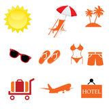 Summer Icons with White Background vector illustrator Stock Image