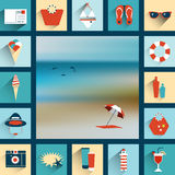 Summer illustrated background. Royalty Free Stock Image