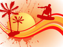 Summer illustration. Illustration of a wakeboarder silhouette on a summer background Stock Photography
