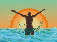 Summer illustration. A young man's silhouette with his hands raised in the air enjoying the summer sea on a sunset background Stock Image