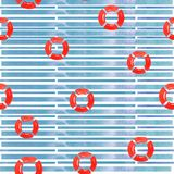 Summer illustration of abstract geometric seamless pattern with blue watercolor circles vector illustration