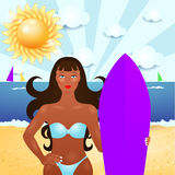 Summer illustration with attractive girl and surf Royalty Free Stock Photo