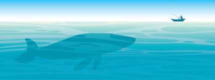 Big whale, fisherman, sea, sky. vector illustration