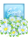 Summer illustration with a bouquet of flowers Stock Photos