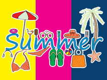 Summer. Illustration of summer and element design. --- This .eps file info Version: Illustrator 8 EPS Document: 12 * 9 Inches (Width * Height) Document Color vector illustration