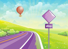Summer illustration with highway, meadows and a balloon in the s Stock Photo