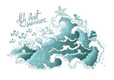 Summer illustration of ocean waves and marine life. Stock Photo