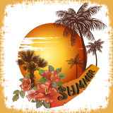 Summer illustration palm tree sun Royalty Free Stock Images