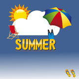 Summer. Illustration of summer poster with sun, cloud and umbrella Royalty Free Stock Photo