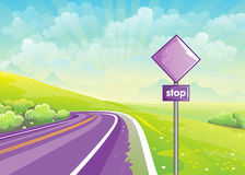 Summer illustration road among fields and sign at the curb Stock Photos