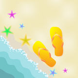 Summer illustration with sandals, starfish, and sea Stock Photos
