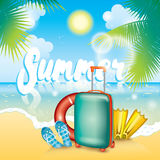 Summer illustration with a suitcase, flaps, fins and a life ring. Vacation and rest. Multicolored beautiful drawing with summer ob. Summer illustration with a Royalty Free Stock Images