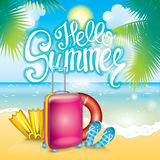 Summer illustration with a suitcase, flaps, fins and a life ring. Vacation and rest. Multicolored beautiful drawing with summer ob. Summer illustration with a Royalty Free Stock Photo