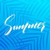 Summer. Illustration of Summer brush lettering on palm leaves tropic background Stock Photos