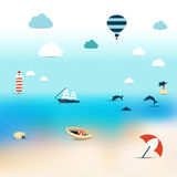 Summer illustration of sun beach. Royalty Free Stock Photography