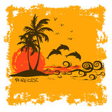 Summer illustration with tropical island Stock Photos