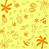 Summer illustrations of doodle art Royalty Free Stock Images