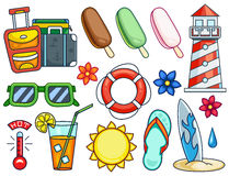 Summer Illustrations Set Stock Photo
