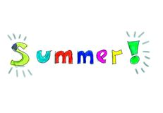 Summer Ilustration. Drawing of the word Summer! using hand drawn letters with colored fillings Stock Photos