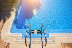 Summer Image Of Pool Detail, Handrails And Clear Water For Tourism. Stock Images