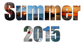 Summer images inside the word summer 2015 Royalty Free Stock Photo