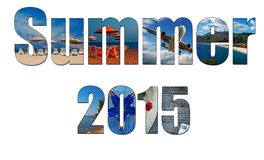 Summer images inside the word summer 2015. Holiday, vacation concept Royalty Free Stock Photos
