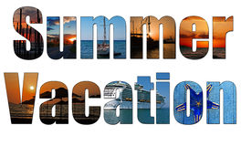 Summer images inside the word summer vacation Royalty Free Stock Photos