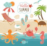 Summer images set. Vector illustration royalty free illustration