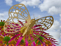 Summer imagination. The image of the metal butterfly, 3D rendering Stock Image
