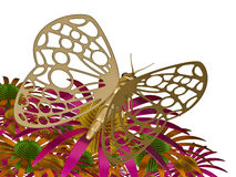 Summer imagination. The image of the metal butterfly, 3D rendering Royalty Free Stock Photography
