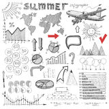 Summer infographic, big set of sketch drawing info Stock Images