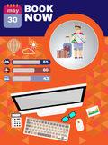 Summer infographic, with book now text, computer and travel accessories Royalty Free Stock Photo