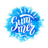 Summer ink brush lettering poster. Summer brush lettering text on watercolor background. For summer posters, t shirts, prints, bags, pillows, home decorations Stock Photos