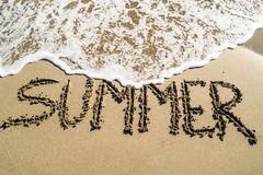 Summer inscription on beach Stock Image