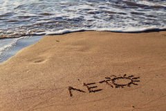 Summer. The inscription summer on the sand by the sea Royalty Free Stock Photography