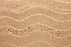 Summer inscription on the wavy sand Royalty Free Stock Image