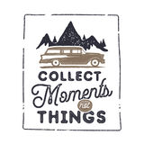 Summer inspirational badge design. Vintage hand drawn label. Collect moments not things sign. Included old surf car Royalty Free Stock Photos