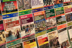 Summer International Study Program. Flyers on campus information board at George Mason University at Virginia, USA Stock Image