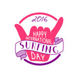 Summer international surfing day 2016 tattoo design. Vacation typography print emblem. Surfer party with surfing symbol. Shaka. Best for web design, tee Royalty Free Stock Images