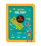 Summer invitation to event, poster, flyer, on party near pool. Beautiful colorful poster, flyer, banner, invitation to party near the pool. Summer invitation to Stock Photography