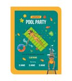 Summer invitation to event, poster, flyer, on party near pool. Beautiful colorful poster, flyer, banner, invitation to party near the pool. Summer invitation to Royalty Free Stock Photos