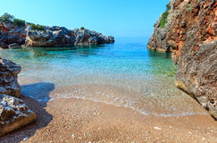 Summer Ionian sea coast, Albania. Morning summer Ionian sea coast landscape with clear transparent water, Albania. View from beach Stock Images
