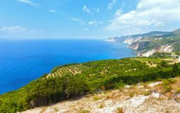 Summer Ionian sea coast  view (Kefalonia, Greece) Royalty Free Stock Image