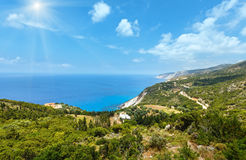 Summer Ionian sea coast  view (Kefalonia, Greece) Stock Photos